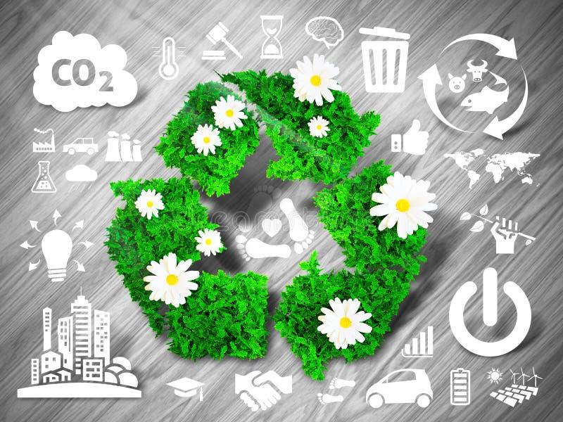 O verde recicl o sinal ilustração stock