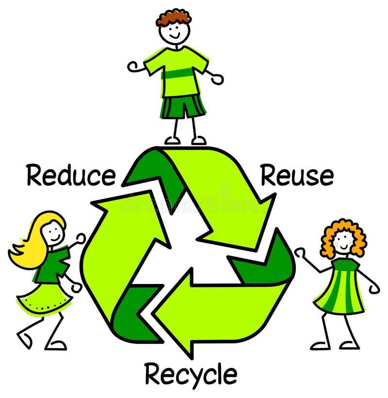 O verde recicl os miúdos/eps ilustração royalty free