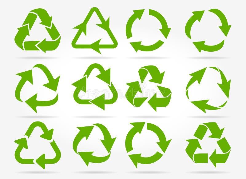 O verde recicla ícones da seta ilustração royalty free