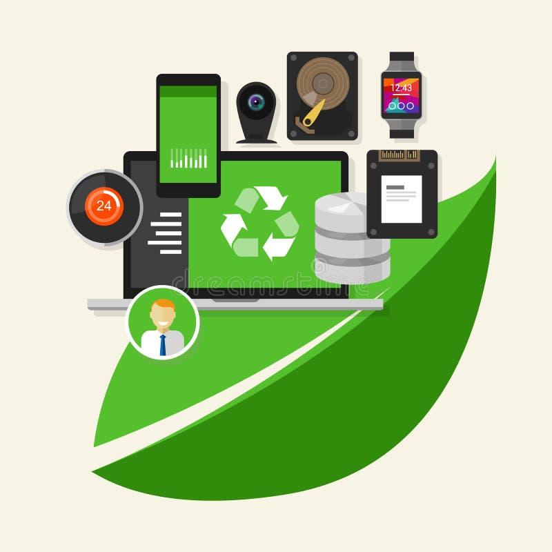 O verde recicla a computação da informática  ilustração royalty free