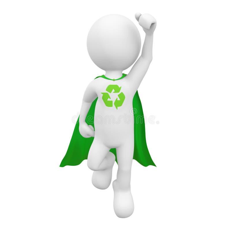 O verde recicla o conceito da liderança da realização do super-herói ilustração stock
