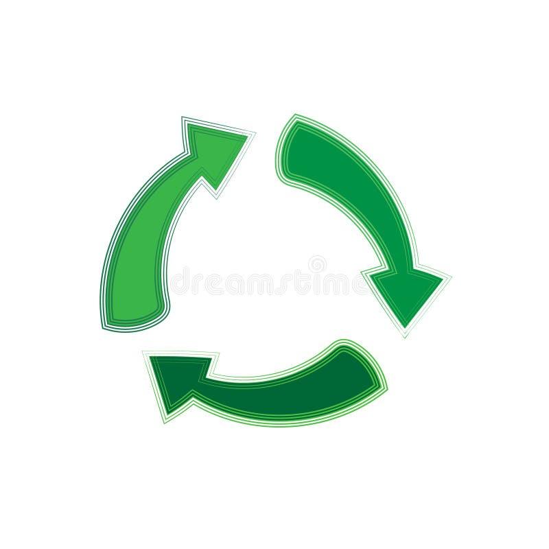 O verde recicla o símbolo das setas, ícone liso do vetor isolado em um fundo branco ilustração do vetor