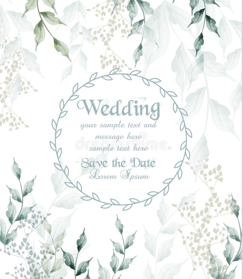 O verde redondo da aquarela do quadro do cartão de casamento deixa o vetor ilustração royalty free