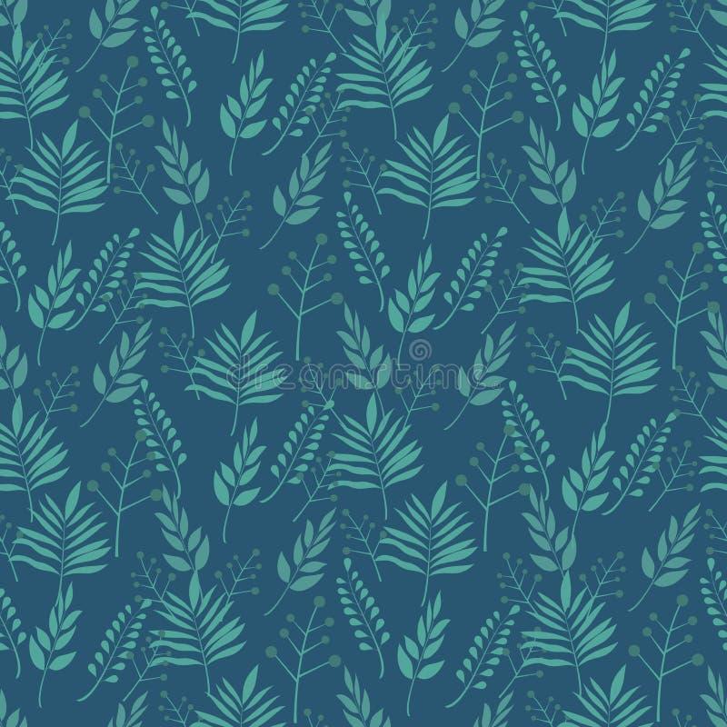 O verde retro sae em ramos no teste padrão sem emenda do fundo escuro ilustração royalty free