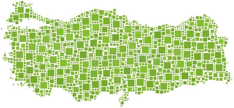 O verde telhou o mapa de Turquia ilustração do vetor