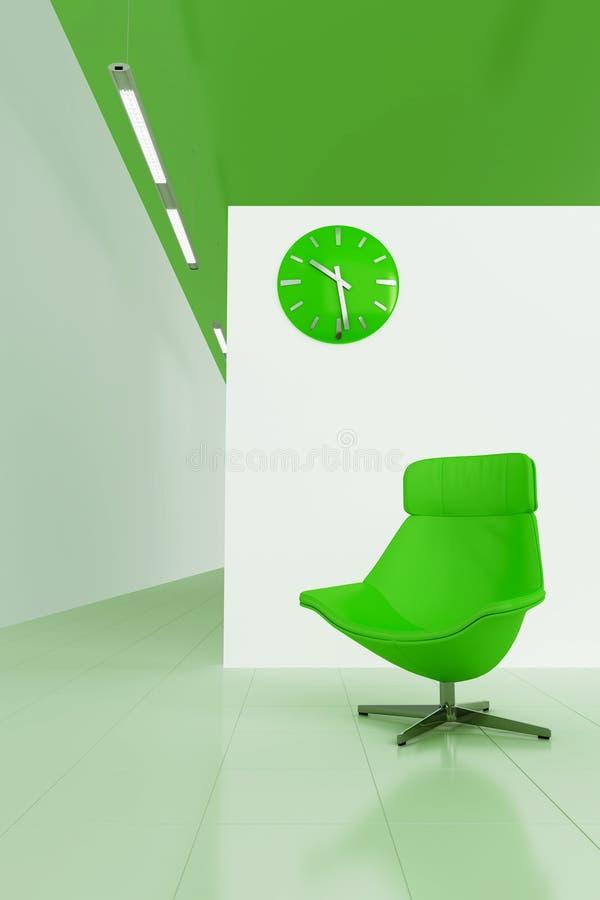 O verde tonificou o interior ilustração stock