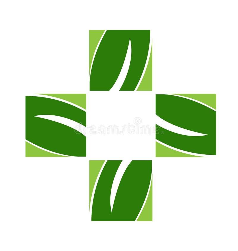 O verde transversal folheia logotipo ilustração royalty free