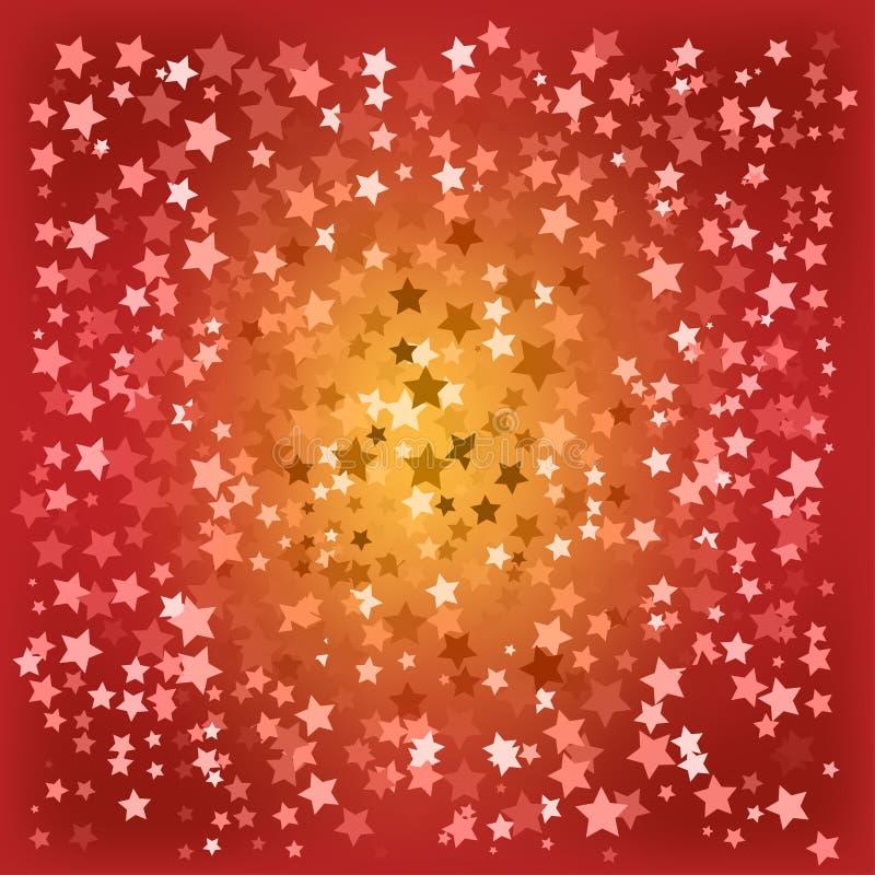 O vermelho abstrato do Natal stars o fundo ilustração royalty free