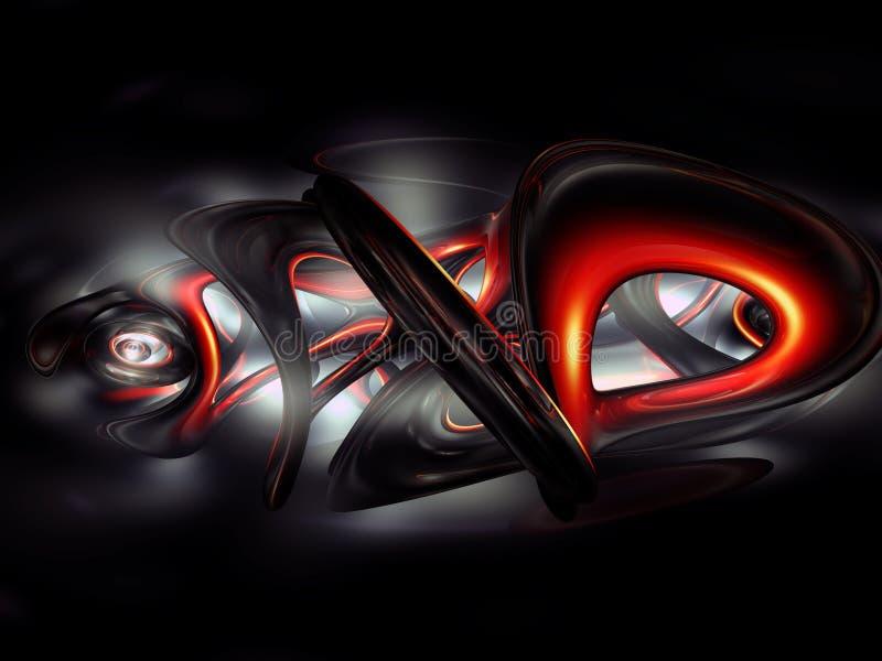 o vermelho abstrato dos grafittis 3D rende a obscuridade - preto cinzento ilustração stock