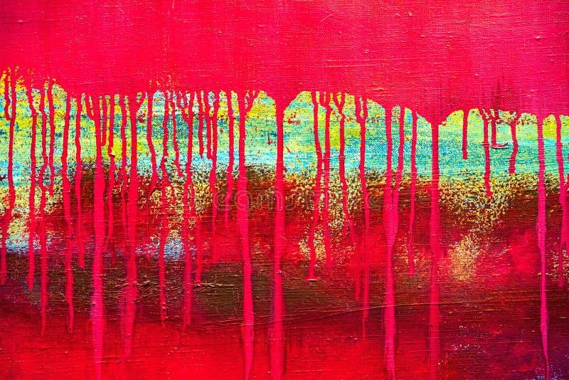 O vermelho abstrato pintou a lona com gotejamentos do escape da pintura imagens de stock