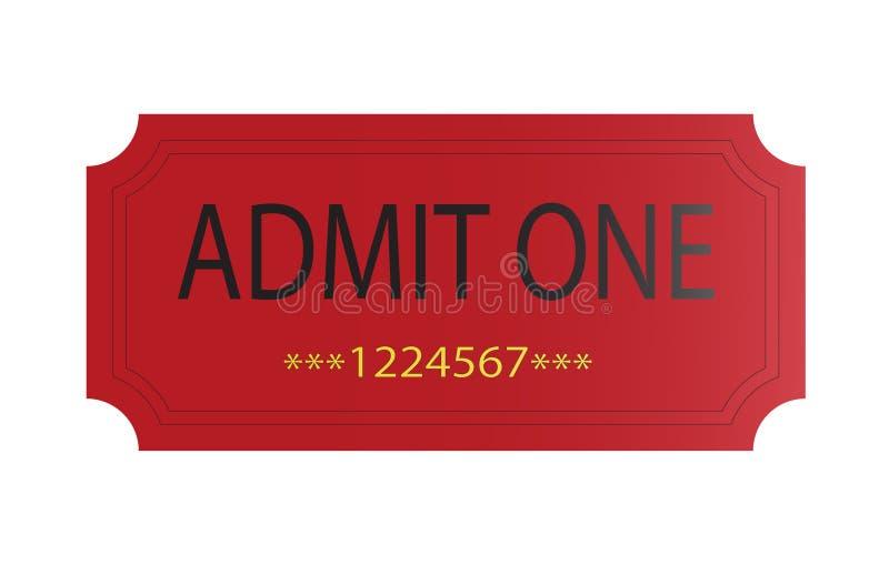 O vermelho admite um bilhete ilustração stock