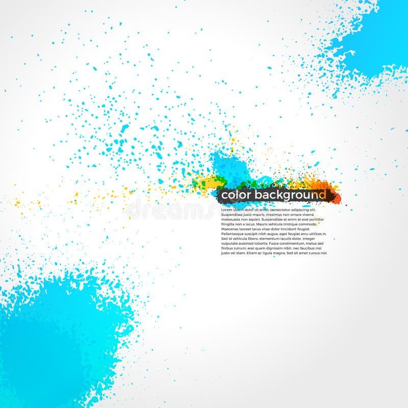 O vermelho, alaranjado e azul chapinha o Grunge da pintura brilhante ilustração stock