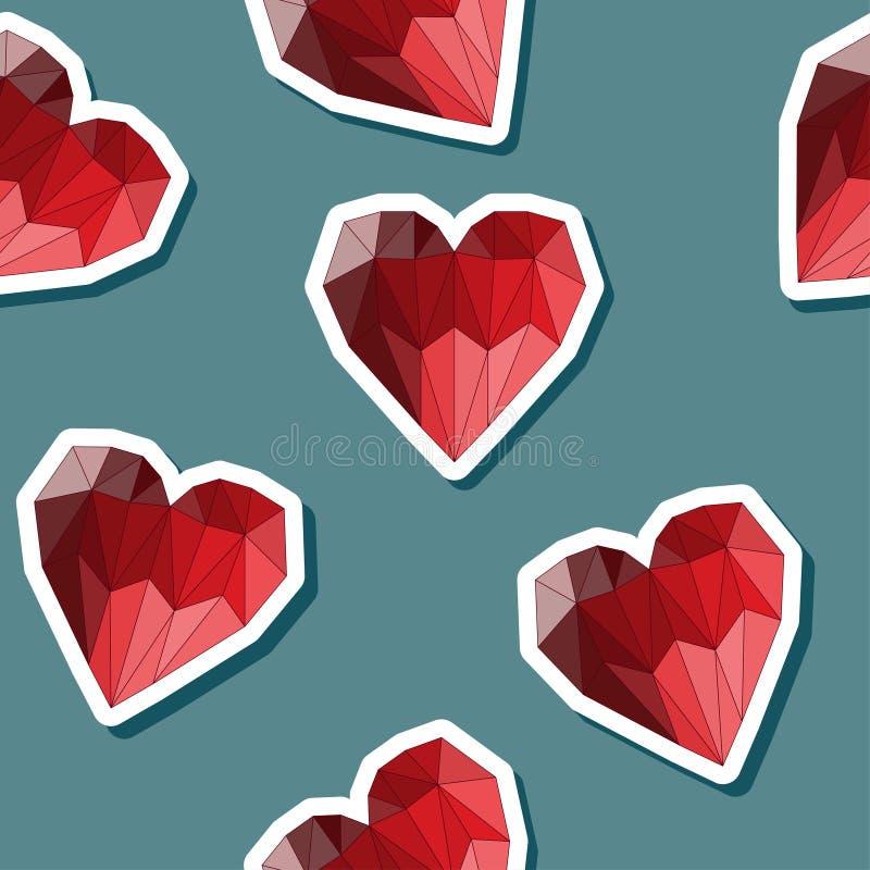 O vermelho brilhante poligonal abstrato geométrico coloriu o fundo sem emenda do teste padrão dos corações para o uso no projeto  ilustração royalty free
