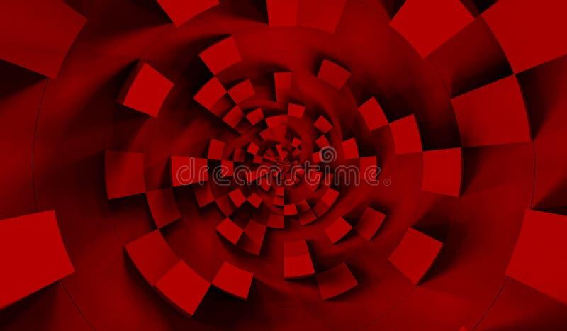 O vermelho cuba o teste padrão abstrato do fundo ilustração 3D ilustração royalty free