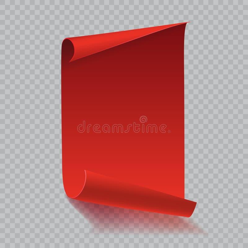 O vermelho curvou o rolo de papel com sombra no fundo branco Ilustração do vetor ilustração stock