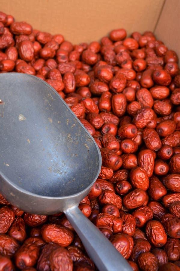 O vermelho data o alimento chinês imagem de stock