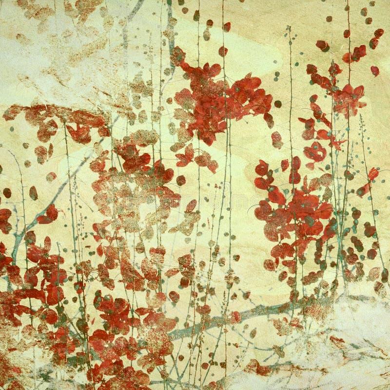 O vermelho de Grunge floresce o fundo Textured arte ilustração stock