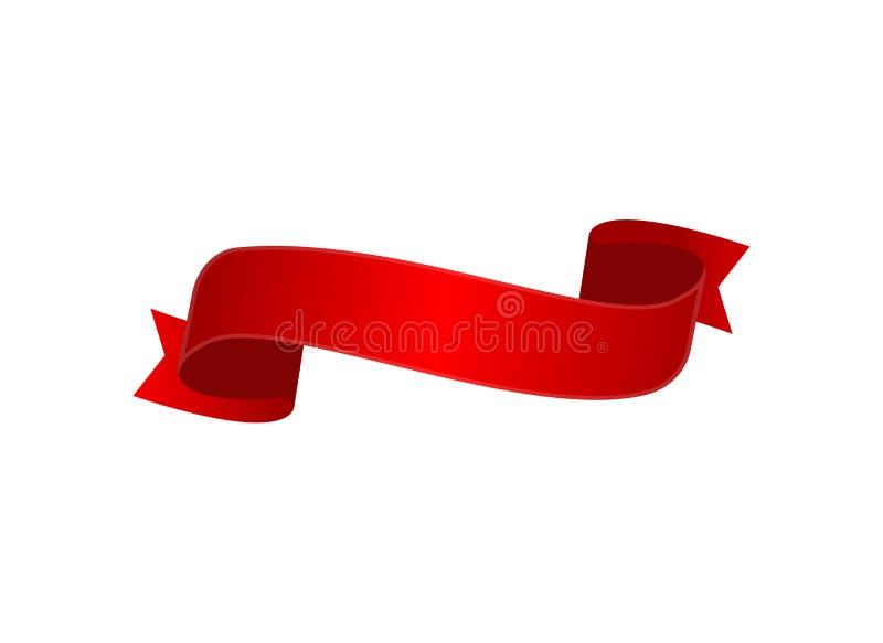 O vermelho do cetim curvou o ícone isolado fita ilustração stock