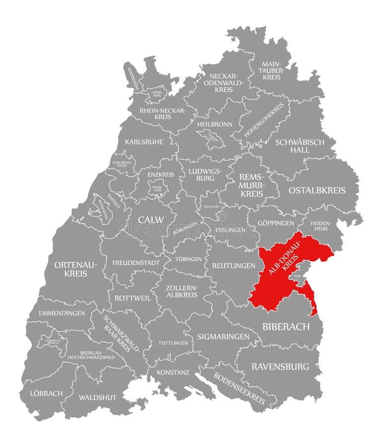 O vermelho do condado do alb-Donau-Kreis destacou no mapa de Baden Wuerttemberg Germany ilustração do vetor