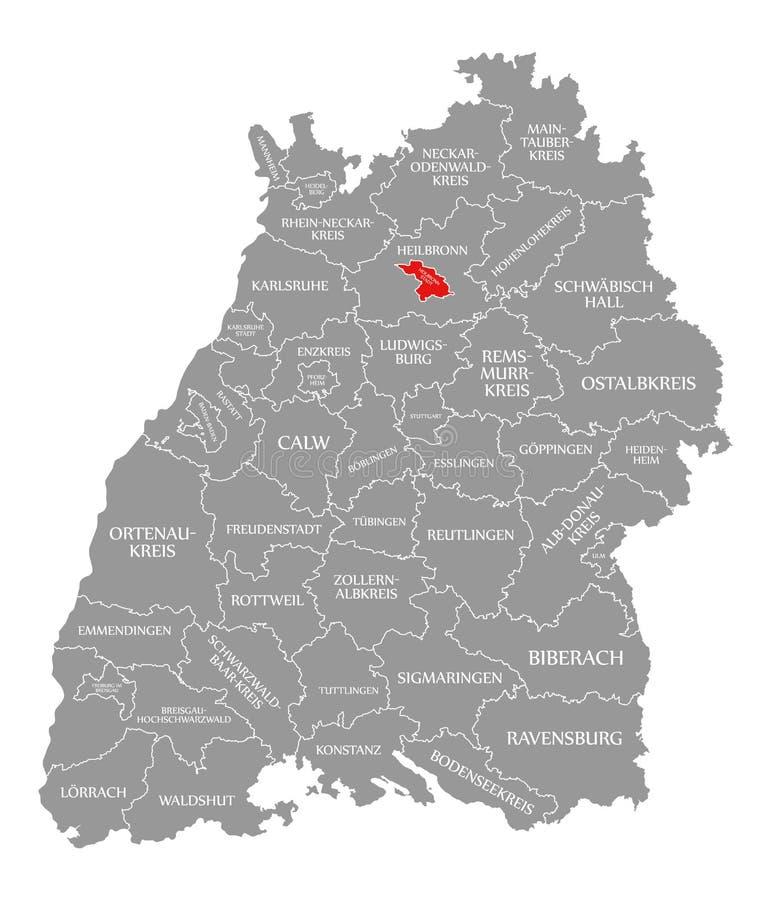 O vermelho do condado da cidade de Heilbronn destacou no mapa de Baden Wuerttemberg Germany ilustração royalty free