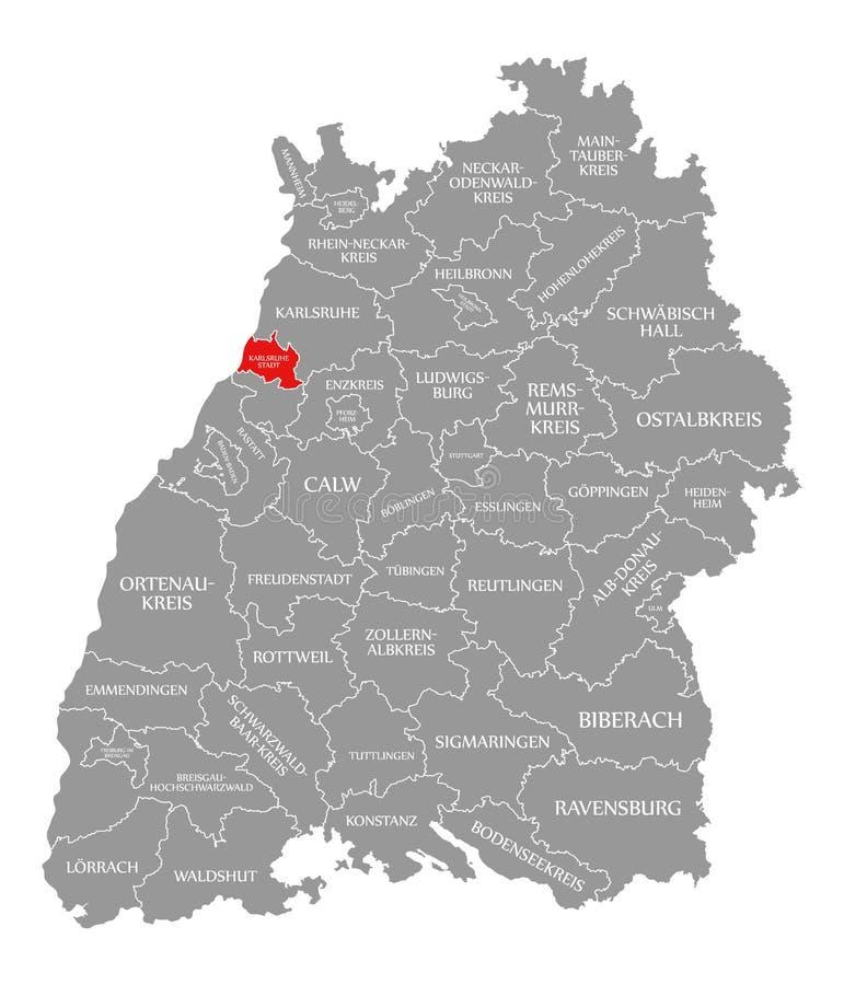 O vermelho do condado da cidade de Karlsruhe destacou no mapa de Baden Wuerttemberg Germany ilustração do vetor