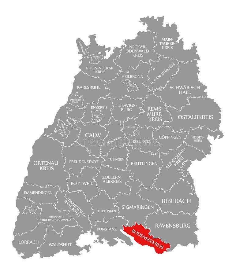 O vermelho do condado de Bodenseekreis destacou no mapa de Baden Wuerttemberg Germany ilustração stock