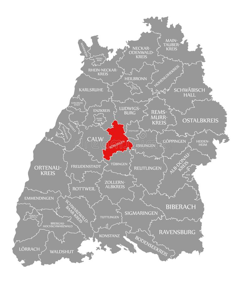O vermelho do condado de Boeblingen destacou no mapa de Baden Wuerttemberg Germany ilustração do vetor