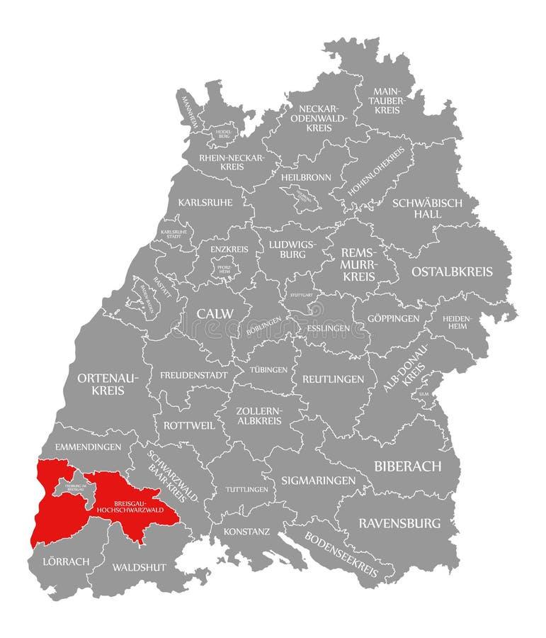 O vermelho do condado de Breisgau-Hochschwarzwald destacou no mapa de Baden Wuerttemberg Germany ilustração do vetor