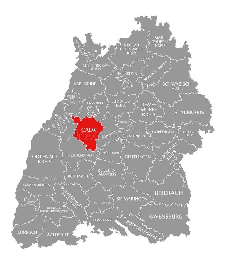 O vermelho do condado de Calw destacou no mapa de Baden Wuerttemberg Germany ilustração royalty free