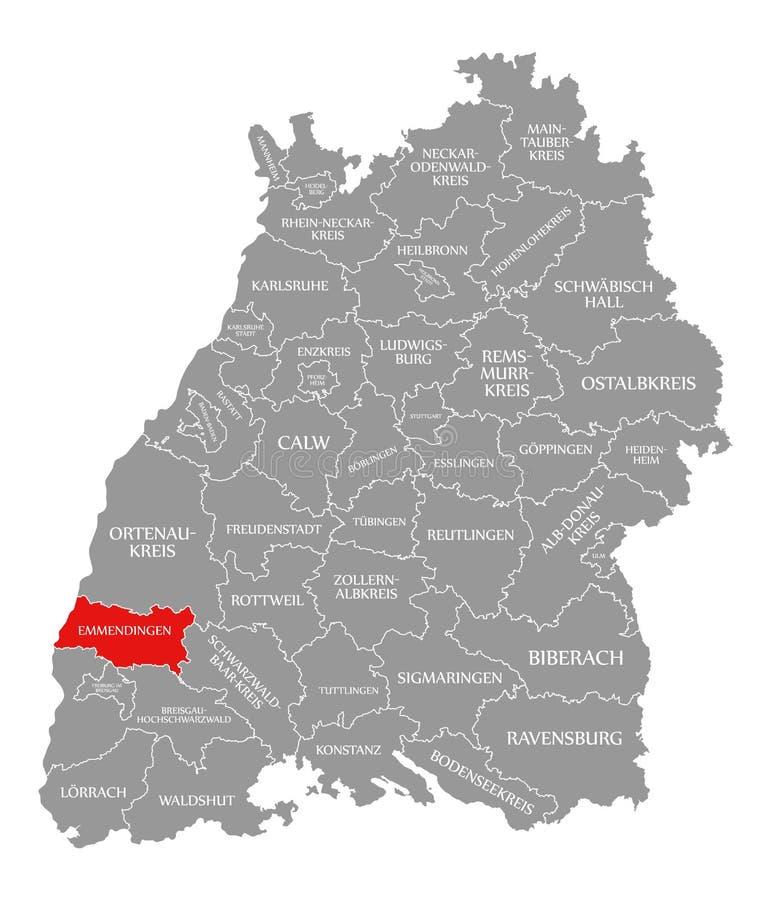 O vermelho do condado de Emmendingen destacou no mapa de Baden Wuerttemberg Germany ilustração do vetor