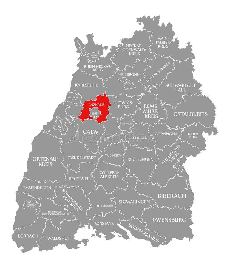 O vermelho do condado de Enzkreis destacou no mapa de Baden Wuerttemberg Germany ilustração do vetor