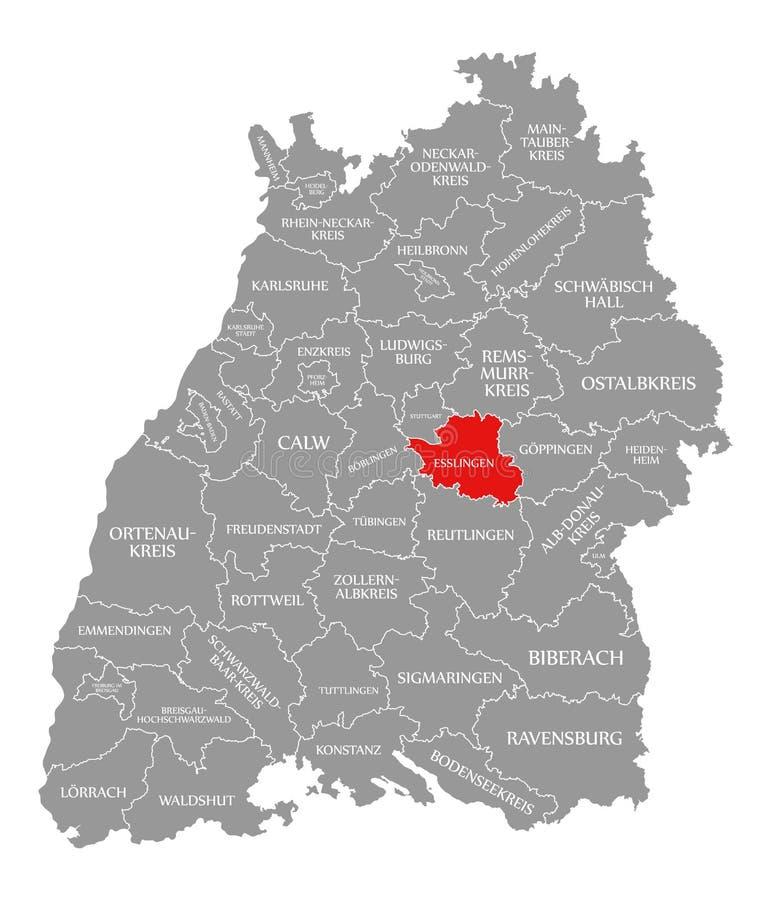 O vermelho do condado de Esslingen destacou no mapa de Baden Wuerttemberg Germany ilustração royalty free