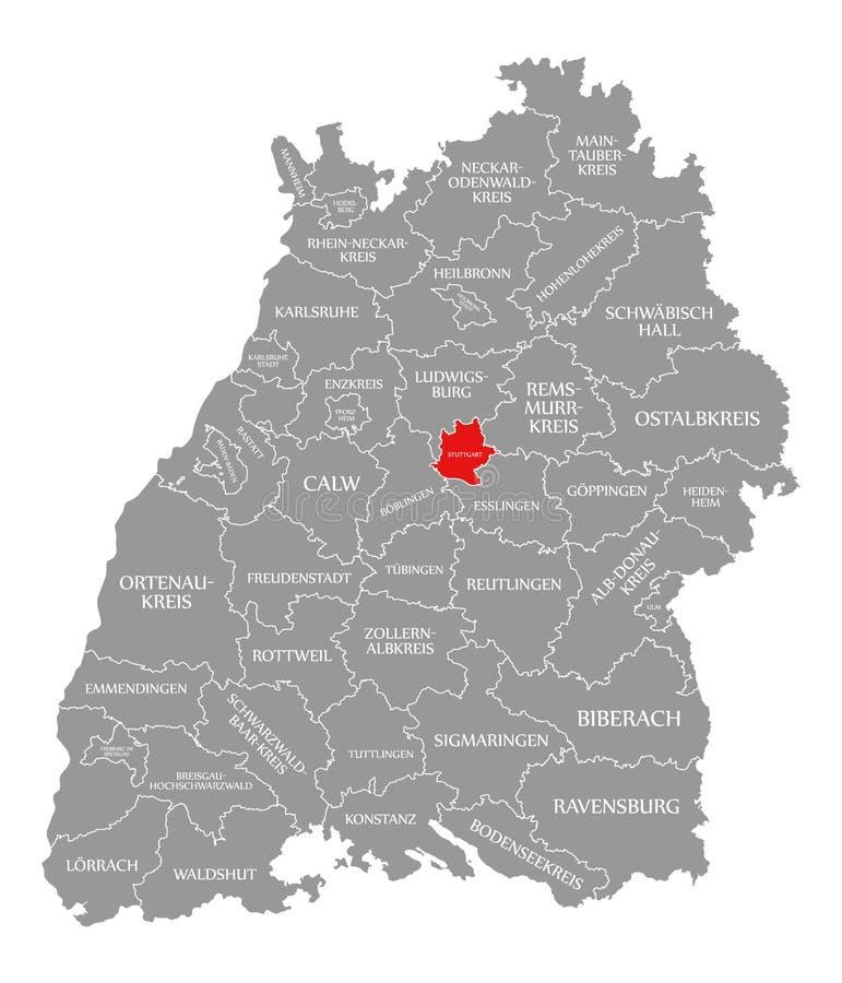 O vermelho do condado de Estugarda destacou no mapa de Baden Wuerttemberg Germany ilustração stock