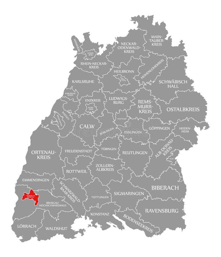 O vermelho do condado de Freiburg im Breisgau destacou no mapa de Baden Wuerttemberg Germany ilustração do vetor