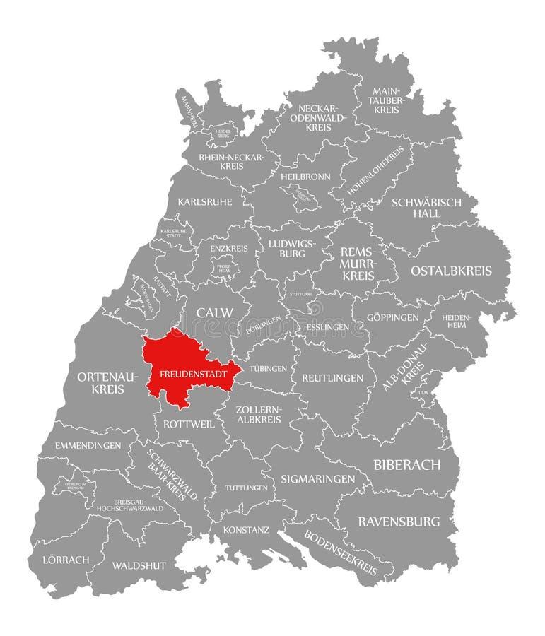 O vermelho do condado de Freudenstadt destacou no mapa de Baden Wuerttemberg Germany ilustração royalty free