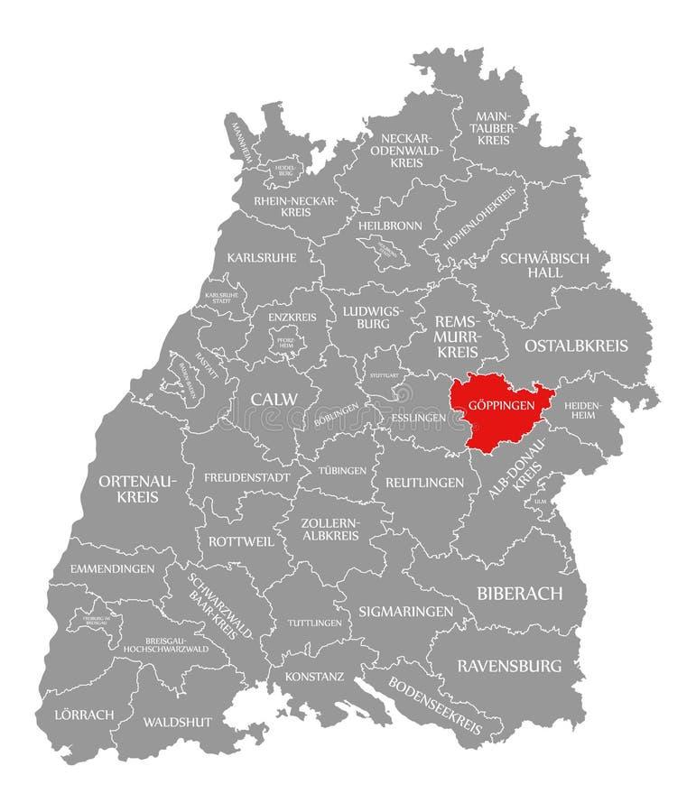 O vermelho do condado de Goeppingen destacou no mapa de Baden Wuerttemberg Germany ilustração stock