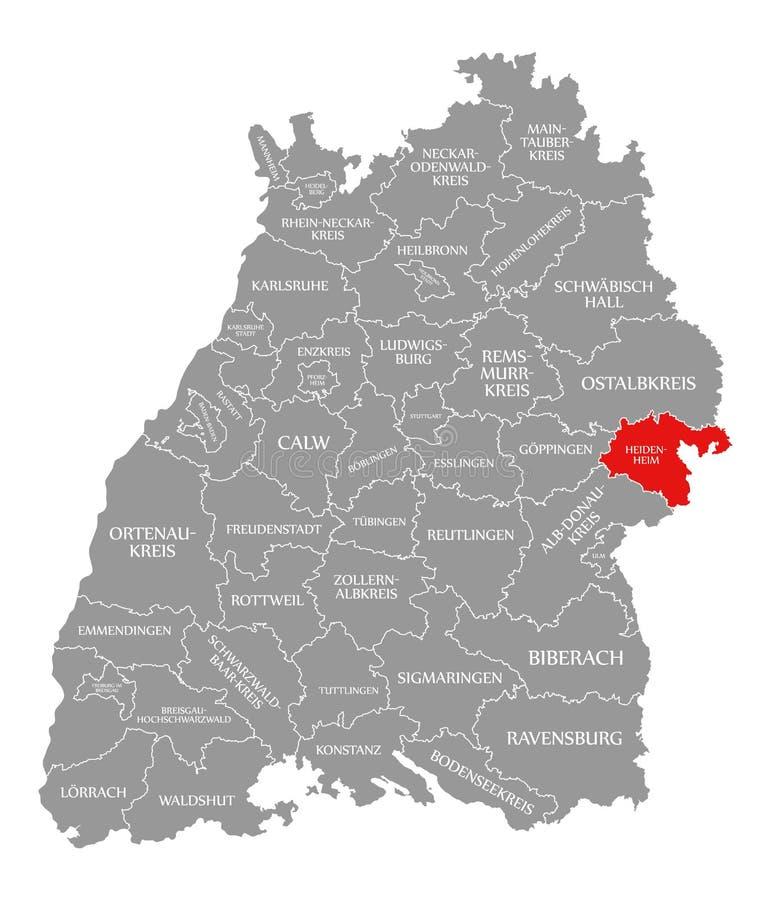O vermelho do condado de Heidenheim destacou no mapa de Baden Wuerttemberg Germany ilustração do vetor