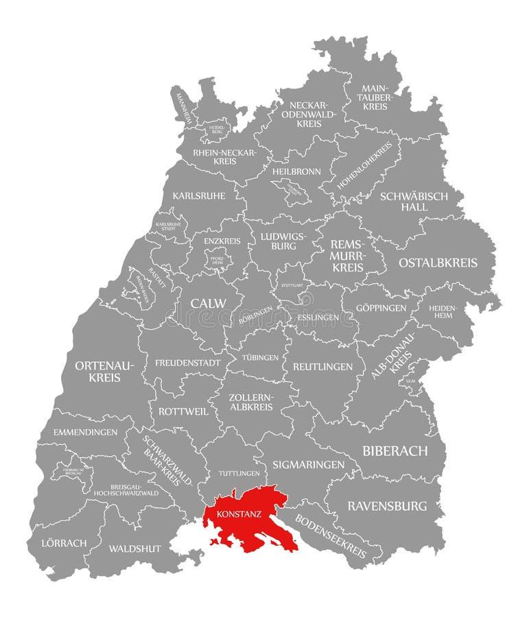 O vermelho do condado de Konstanz destacou no mapa de Baden Wuerttemberg Germany ilustração stock