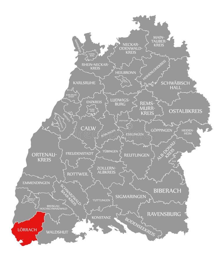 O vermelho do condado de Loerrach destacou no mapa de Baden Wuerttemberg Germany ilustração royalty free