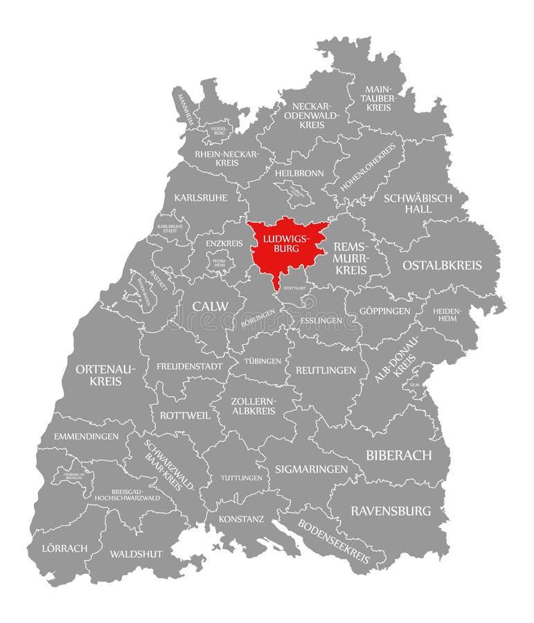 O vermelho do condado de Ludwigsburg destacou no mapa de Baden Wuerttemberg Germany ilustração stock