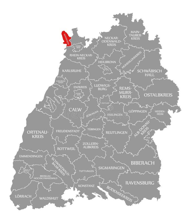 O vermelho do condado de Mannheim destacou no mapa de Baden Wuerttemberg Germany ilustração do vetor