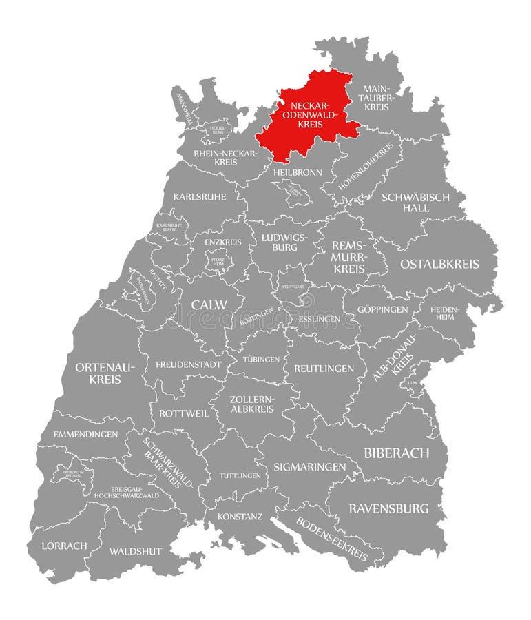 O vermelho do condado de Neckar-Odenwald-Kreis destacou no mapa de Baden Wuerttemberg Germany ilustração do vetor