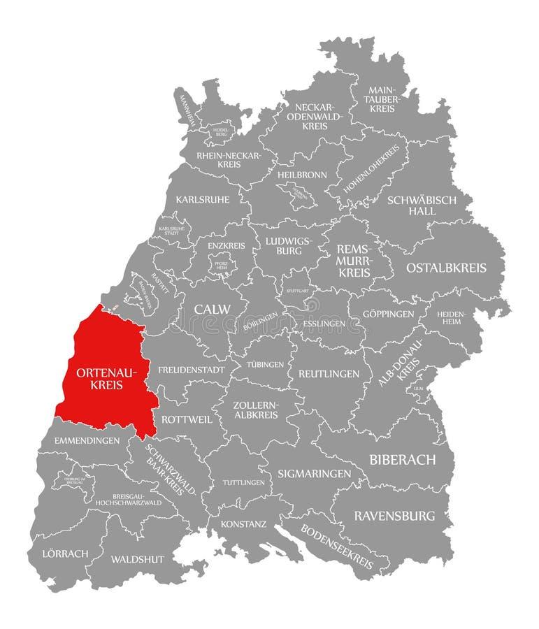O vermelho do condado de Ortenau-Kreis destacou no mapa de Baden Wuerttemberg Germany ilustração do vetor