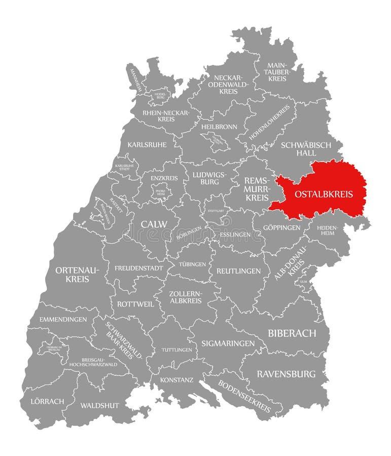O vermelho do condado de Ostalbkreis destacou no mapa de Baden Wuerttemberg Germany ilustração royalty free