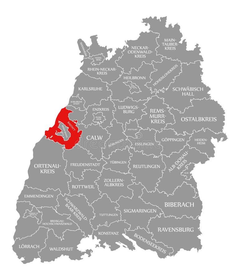 O vermelho do condado de Rastatt destacou no mapa de Baden Wuerttemberg Germany ilustração stock