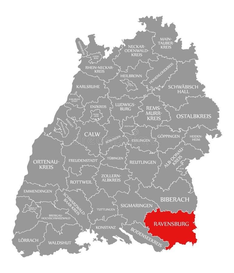 O vermelho do condado de Ravensburg destacou no mapa de Baden Wuerttemberg Germany ilustração royalty free