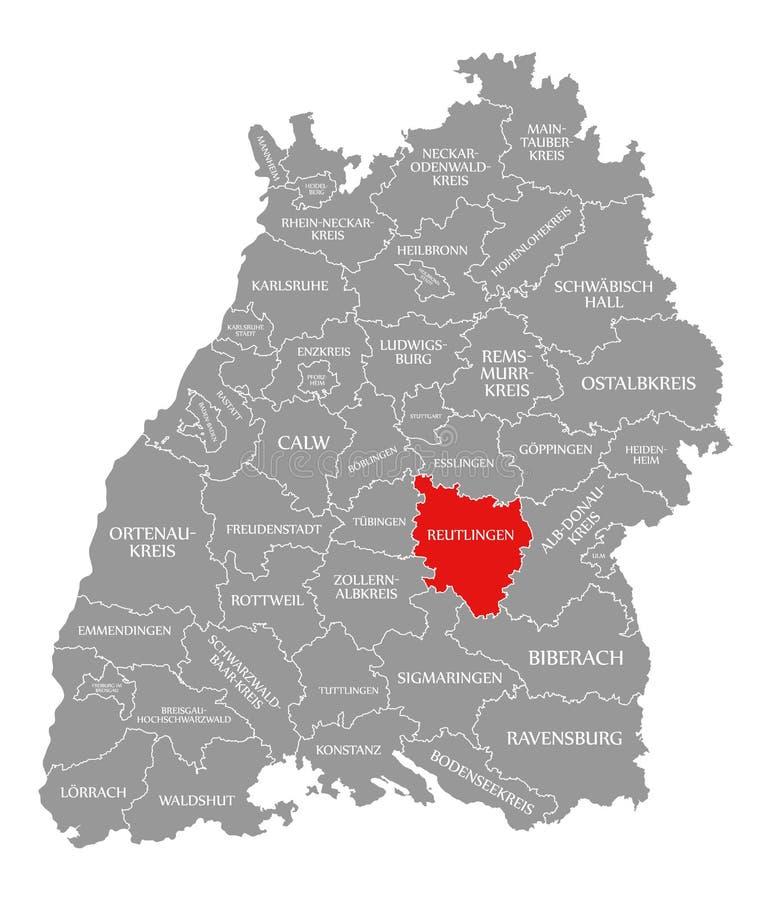 O vermelho do condado de Reutlingen destacou no mapa de Baden Wuerttemberg Germany ilustração stock