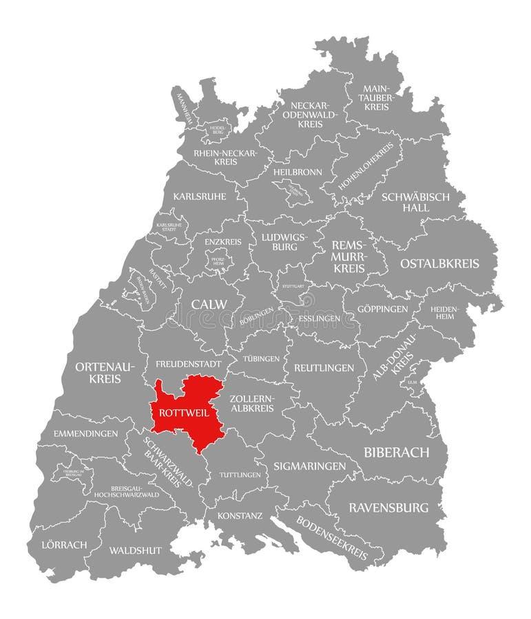 O vermelho do condado de Rottweil destacou no mapa de Baden Wuerttemberg Germany ilustração do vetor