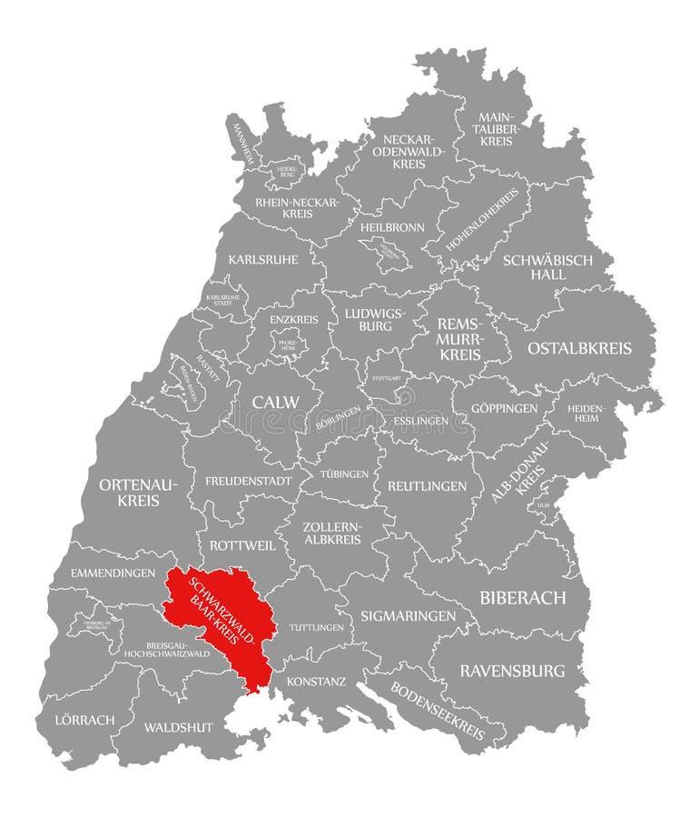 O vermelho do condado de Schwarzwald-Baar-Kreis destacou no mapa de Baden Wuerttemberg Germany ilustração do vetor