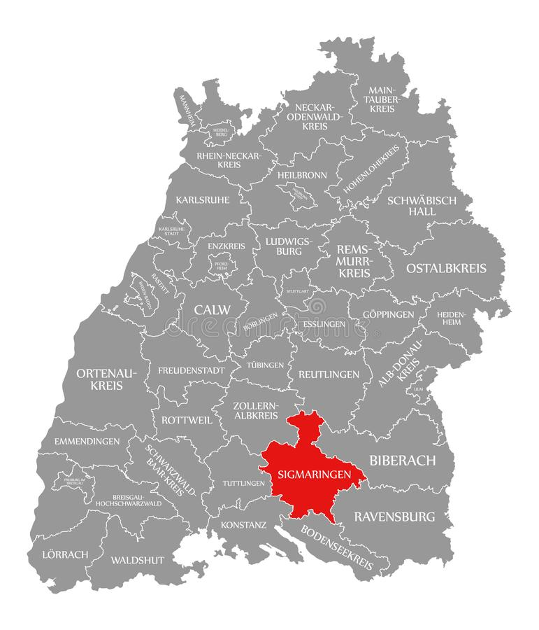 O vermelho do condado de Sigmaringen destacou no mapa de Baden Wuerttemberg Germany ilustração stock